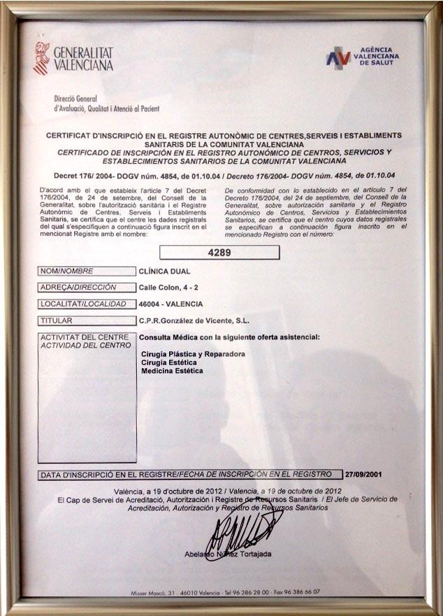 Clínica Dual's Valencia Public Health Dept. registry no. 04289